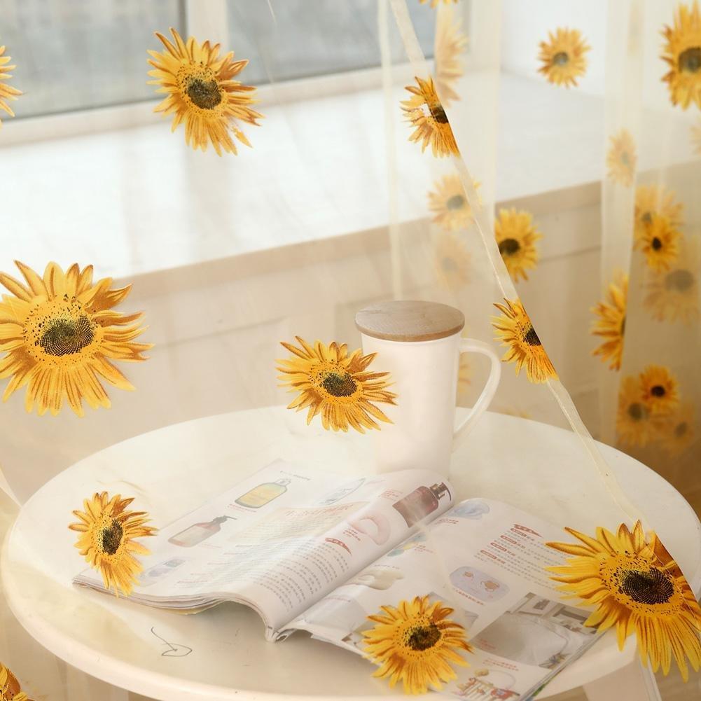 Door Kitchen Bathroom Window Curtain 1m x 2m Blue Domybest Sunflower Window Curtain