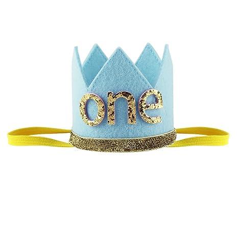 GONO Corona de fiesta de cumpleaños con números bebé 1 año ...
