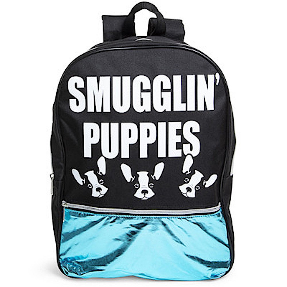 Smugglin' Puppies Metallic Backpack Boston Terrier Dog 16''