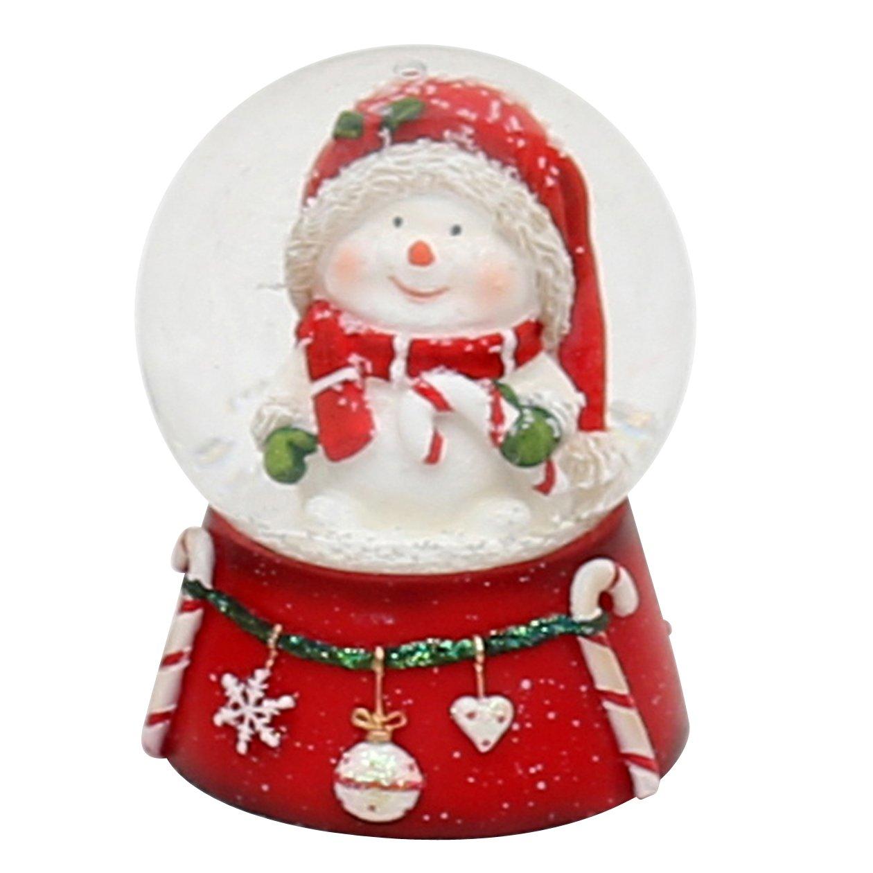 Belle petite boule à neige avec Bonhomme de neige et canne à sucre, dimensions approx. 6,5 x 5 cm/ Ø 4,5 cm