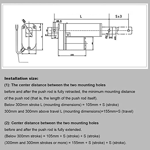 """Linear Actuator 12/"""" inch 300mm Stroke Heavy Duty 12V DC 330 Pound 150KG Max Lift"""