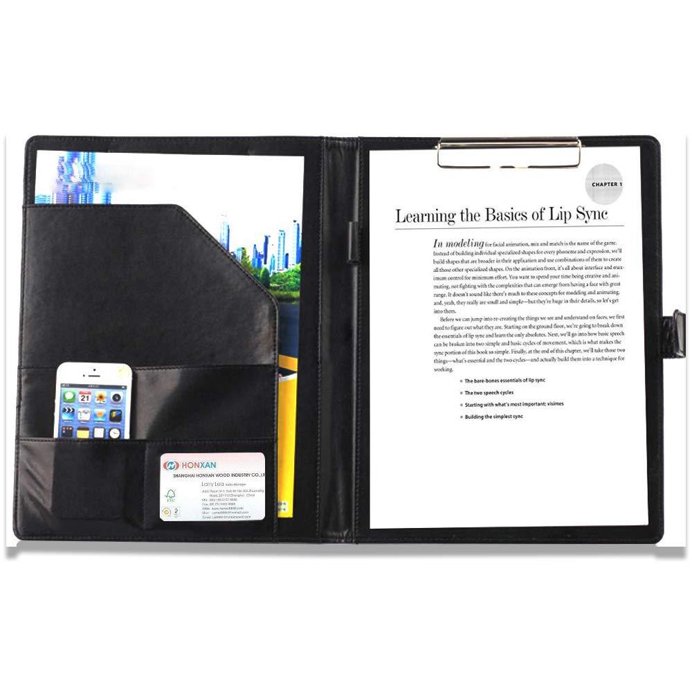 Bloc de Notas Carpeta Portapapeles con Pinza,Carpeta A4,Carpeta Clip,Carpeta Piel,Incluye Bolsillo Interior,Bloc de Notas Material de Oficina(Negro)