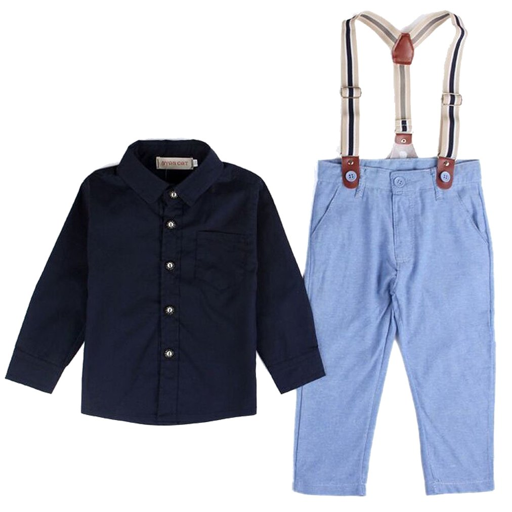 EGELEXY Baby Boy Long Sleeve T-Shirt Suspender Straps and Pants Clothing Sets Outfit