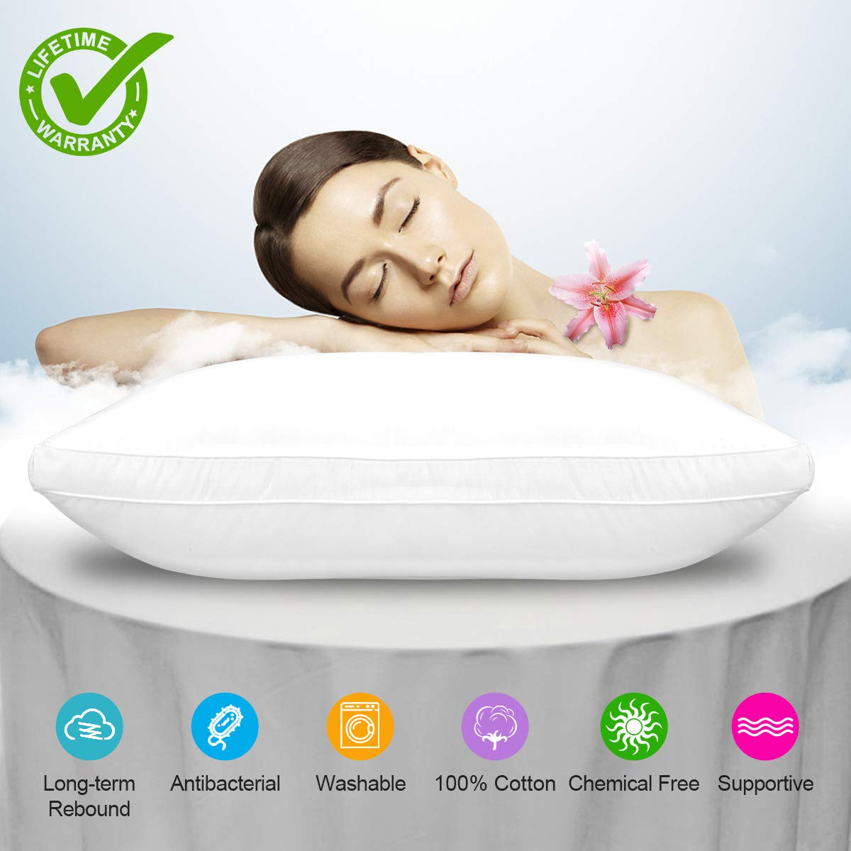 Bed Pillow, Bed Pillows White Hypoallergenic Dust Mite Resistant with Zipper Adjustable Loft Shred Fiber, Reading Bed Rest Pillows Down for Home Hotel Collection Sleeping Bedding Side Back Sleepers