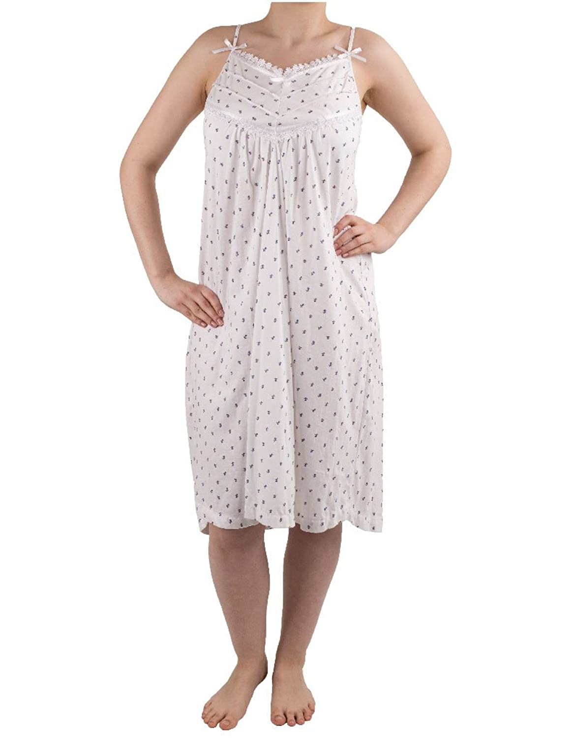 NSW Lounge Melissa White and Lilac Combed Cotton Spaghetti Strap Nightdress 3111