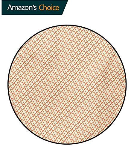 (RUGSMAT Yellow and Orange Non-Slip Area Rug Pad Round,Crossed Stripes Line Art Design Modern Digonal Skewed Squares Protect Floors While Securing Rug Making Vacuuming,Diameter-39 Inch)