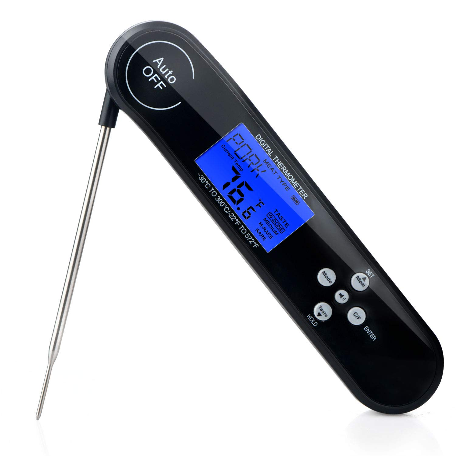 Instant Talking Meat Digital Thermometer,Read Food Temps Fast and Clear Voice,Waterproof Backlit LCD Display and Folding Probe,Perfect for Food Kitchen Cooking BBQ Grill PinnacleT1