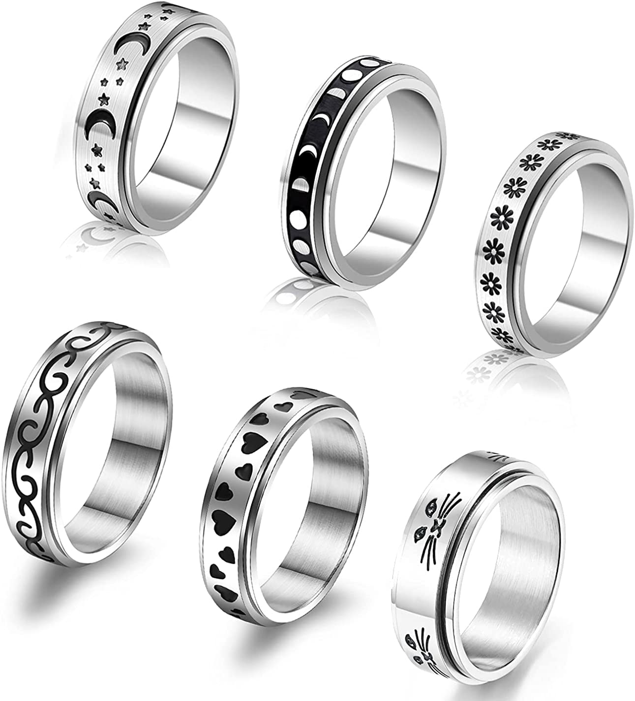 CASDAN 6Pcs 6Pcs Stainless Steel Spinner Ring for Women Mens Fidget Band Cool Rings Moon Star Celtic Stress Relieving Wide Wedding Promise Rings Set Size 6-10