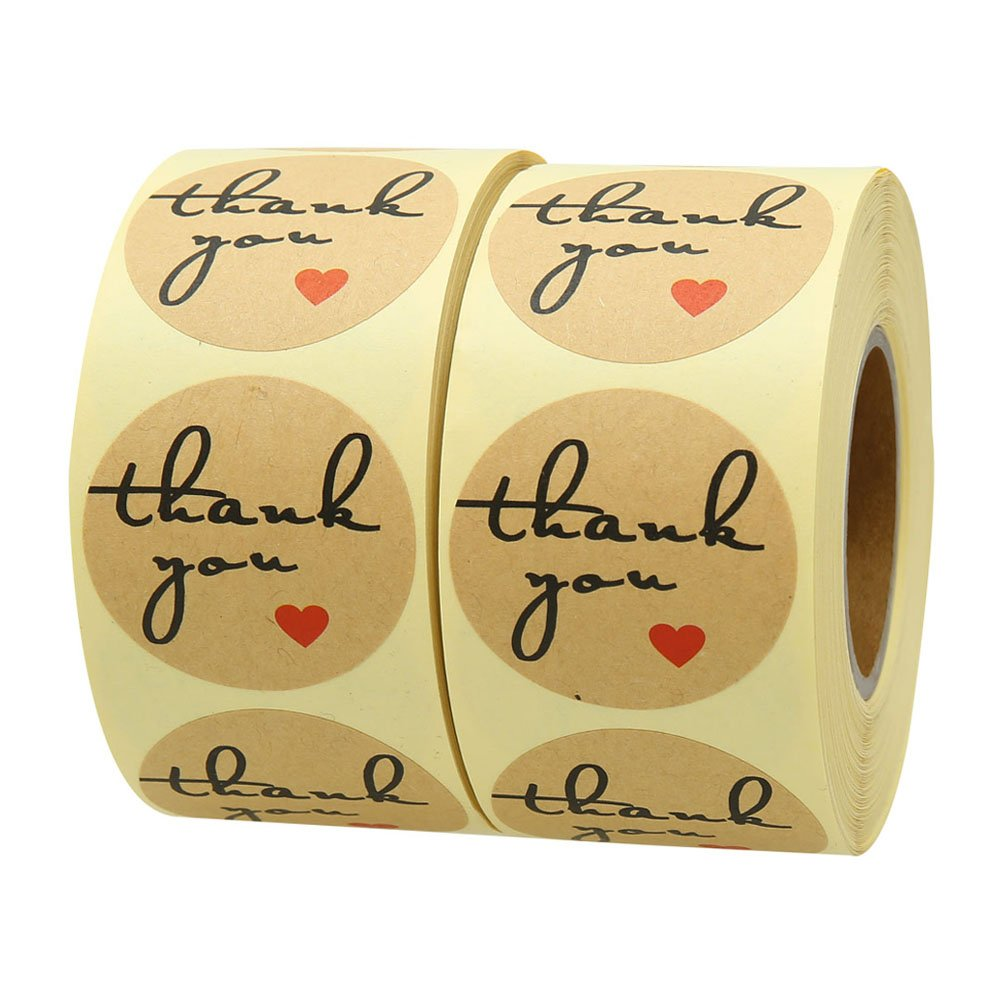 Hcode 500 Natural Kraft Paper Round Thank You Stickers with Red Heart 1.5 inch Adhesive Labels(2 roll)