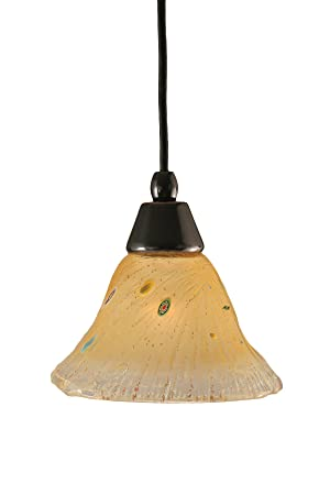 Toltec Lighting 22-BC-750 Cord Mini-Pendant Light Black Copper Finish with Amber Crystal Glass, 7-Inch