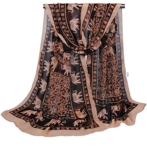 (Alysee Women Impressive Elephant Print Chiffon Long Scarf Shawl Wrap Color Coffee, Medium)