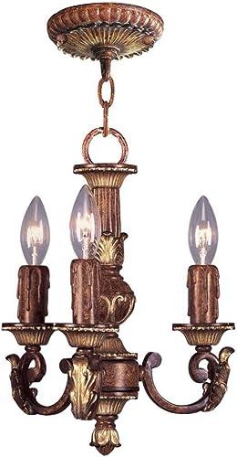 Livex Lighting 8583-63 Villa Verona – Three Light Mini-Chandelier, Verona Bronze Aged Gold Leaf Accent Finish