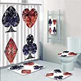 VROSELV 5-piece Bathroom Set-Includes Shower Curtain Liner, Shaped Cards Poker Face Luxury Fortune Symbols Sapphireative Dark Blue RedDecorate the bathroom(Large size)