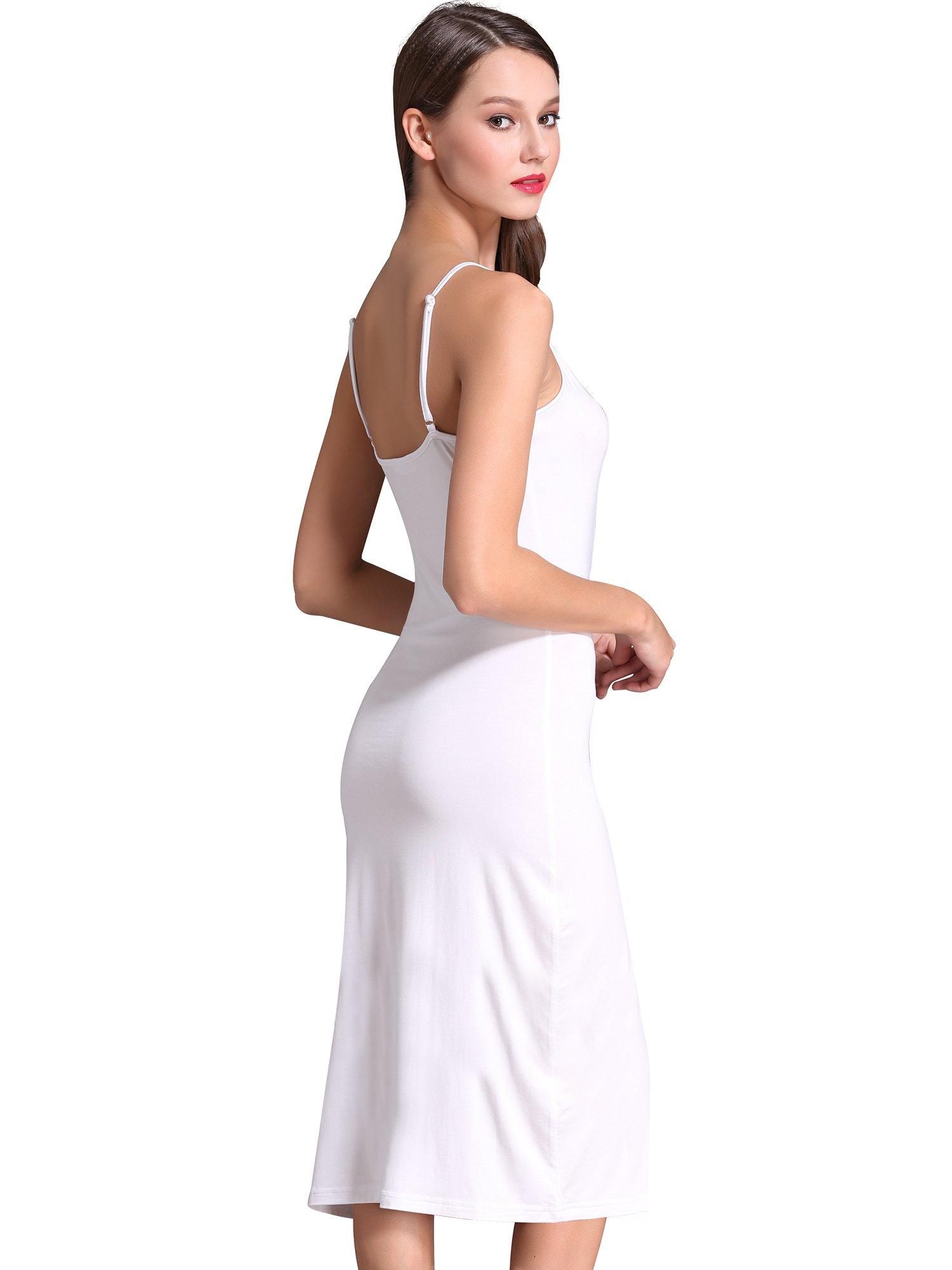 MsBasic Women\'s Adjustable Spaghetti Straps Long Cami Slip Dress ...