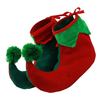 Christmas Shoe.Elf Shoes Boots With Stuffed Ends To Make Them Stand Up In Adult Size 2 Sizes Available Christmas Fancy Dress Elf Shoe Accessory Adults Santa S