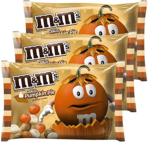 - M&Ms Milk Chocolate Candies White Pumpkin Pie Artificial Flavor 8.0 Oz Bag Pack of 3 | Limited Edition - Autumn, Fall & Winter Themed Candy