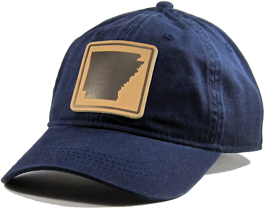 Homeland Tees Mens Arkansas Leather Patch Cotton All Black Hat