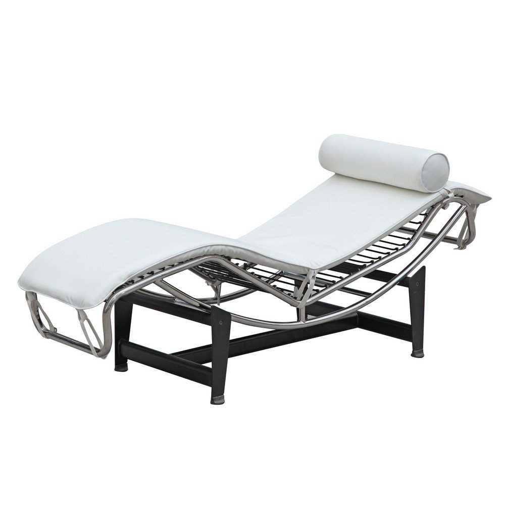 Mid Century Modern Classic Le Corbusier LC-4 Style Replica Chaise Lounge Chair With Premium PU White Leather and Stainless Steel Frame