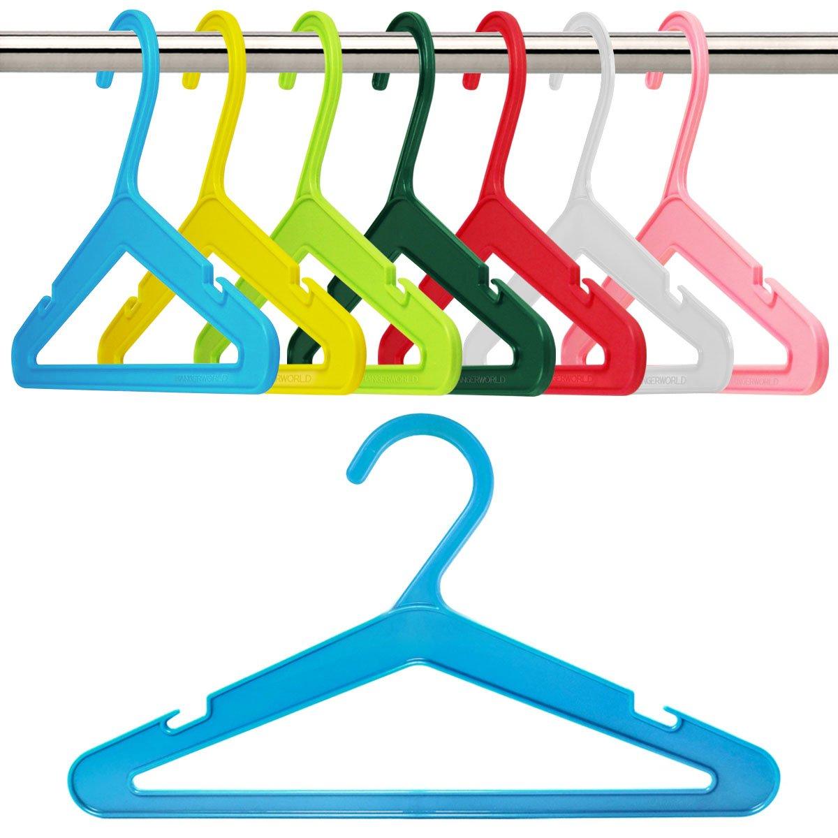 HANGERWORLD 50 Multi Colored 10inch Plastic Kids Baby Toddler Pants Bar Coat Garment Clothes Hangers PH-SWKIDS-MIX-50
