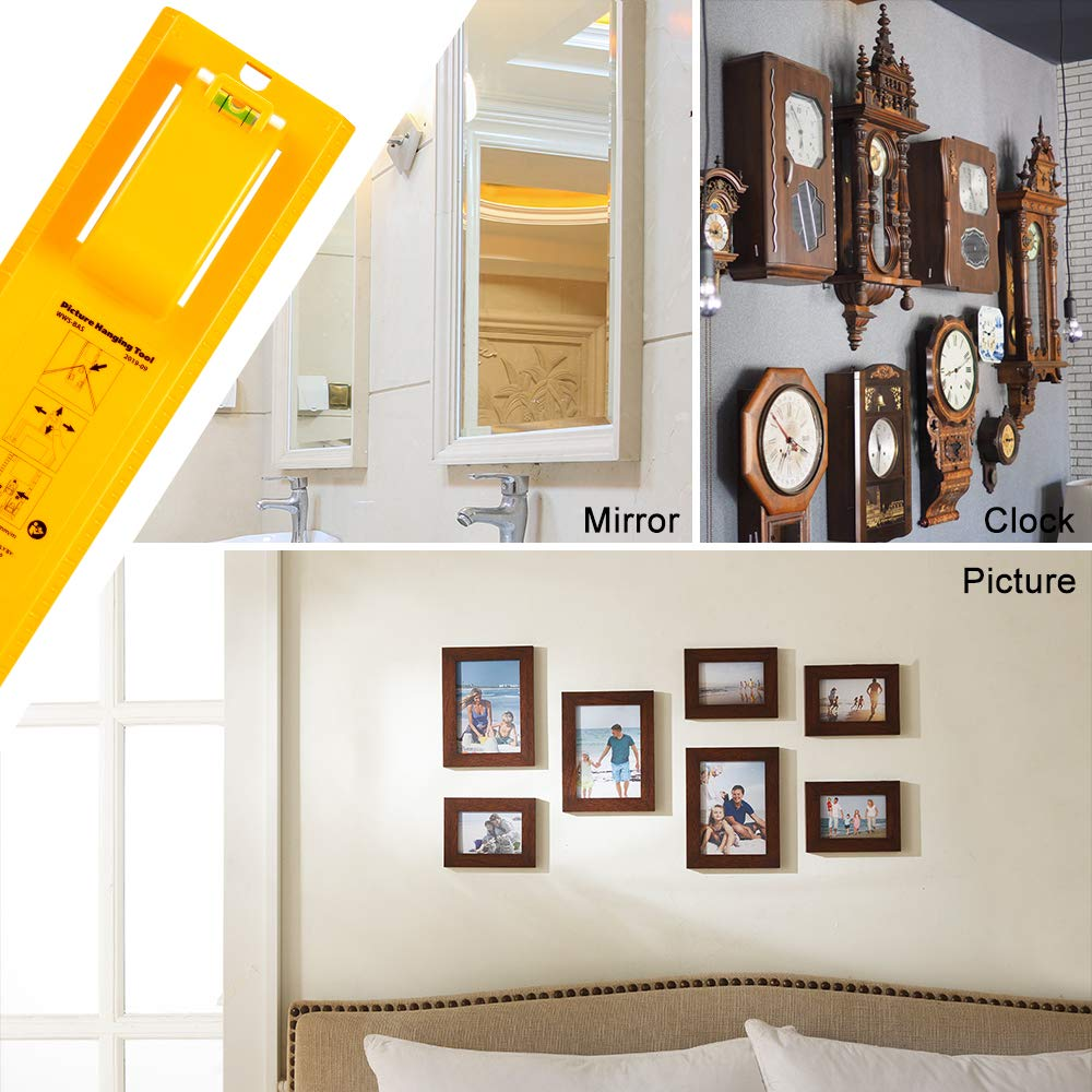 Picture Hanging Tool with Level Easy Frame Picture Hanger Wall Hanging Kit Red