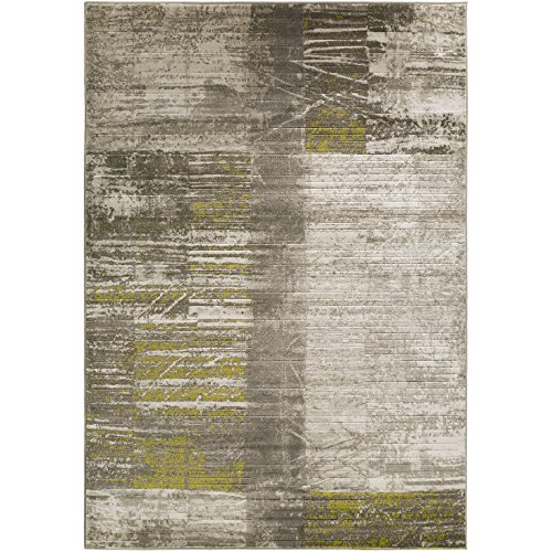 (Albertha Gray, Olive Green and White Modern Area Rug 7'6