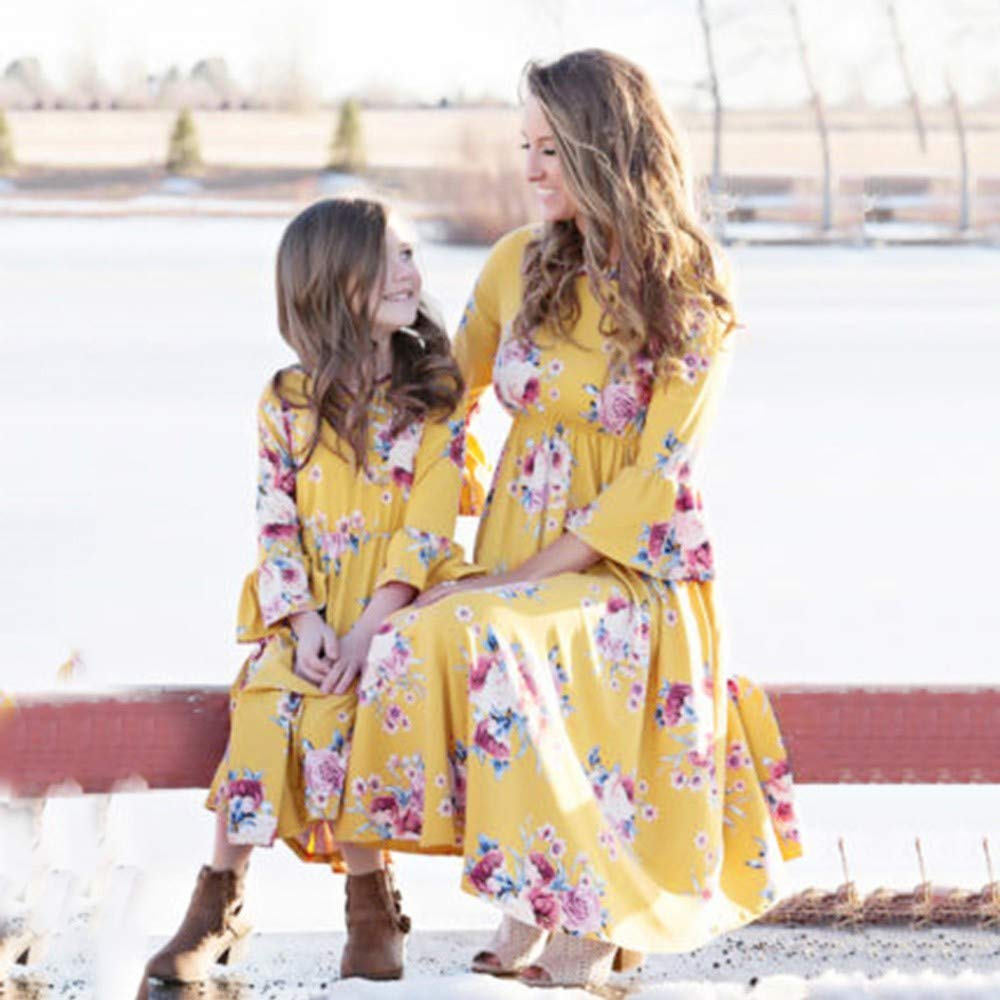 NPRADLA Large Falda Partido Mamá & Me Baby Girls Kids Floral ...
