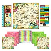 "Scrapbook Customs Themed Paper and Stickers Scrapbook Kit, Cuba Paradise, 12"" x 12"""