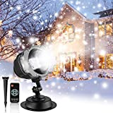 Snowfall LED Projector Lights, Christmas Rotating White Snow Projector Lights, Outdoor Indoor Waterproof Wireless Remote for Halloween Xmas Holiday Party Landscape Decorative Projector