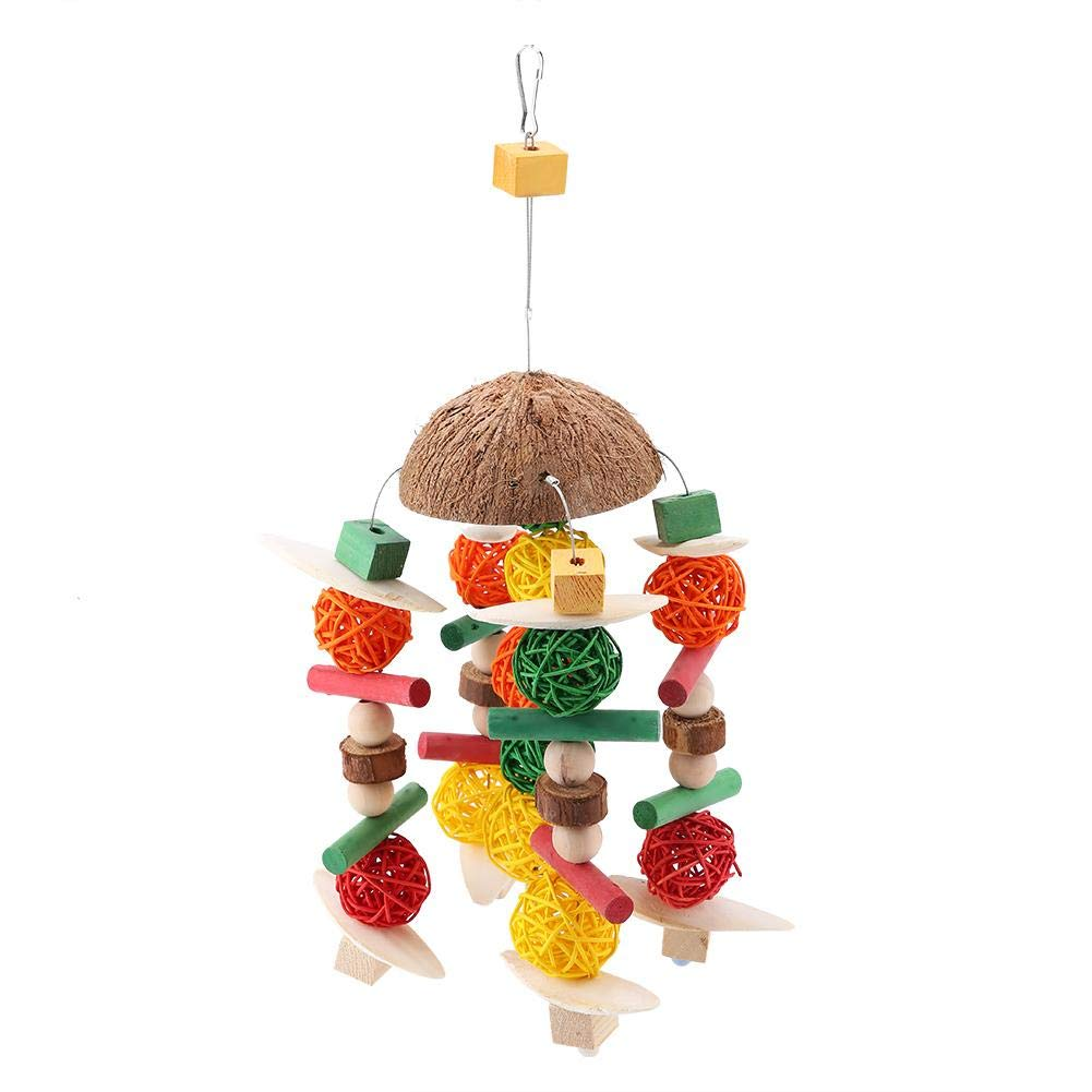 Pet Chew Toy, for Birds Colorful Wooden Hanging Swing Fish Bone Shape by Pangding