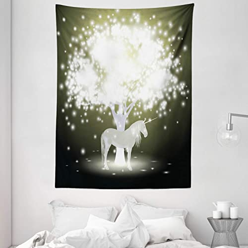 Ambesonne Magic Tapestry, Unicorn Horse Under Mystic Tree with Human Fantasy Artwork Design, Wall Hanging for Bedroom Living Room Dorm, 60 X 80 , Golden Green