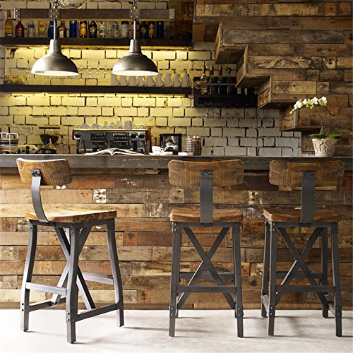 Ink+Ivy IIF20-0104 Lancaster Bar Stools, Contour Wood Seat, Removable Backest Modern Industrial Bar-Height Kitchen Chair, Solid Hardwood, Metal Kickplate Footrest, Dining Room Accent Furniture, Amber (Stools Kitchen Country)