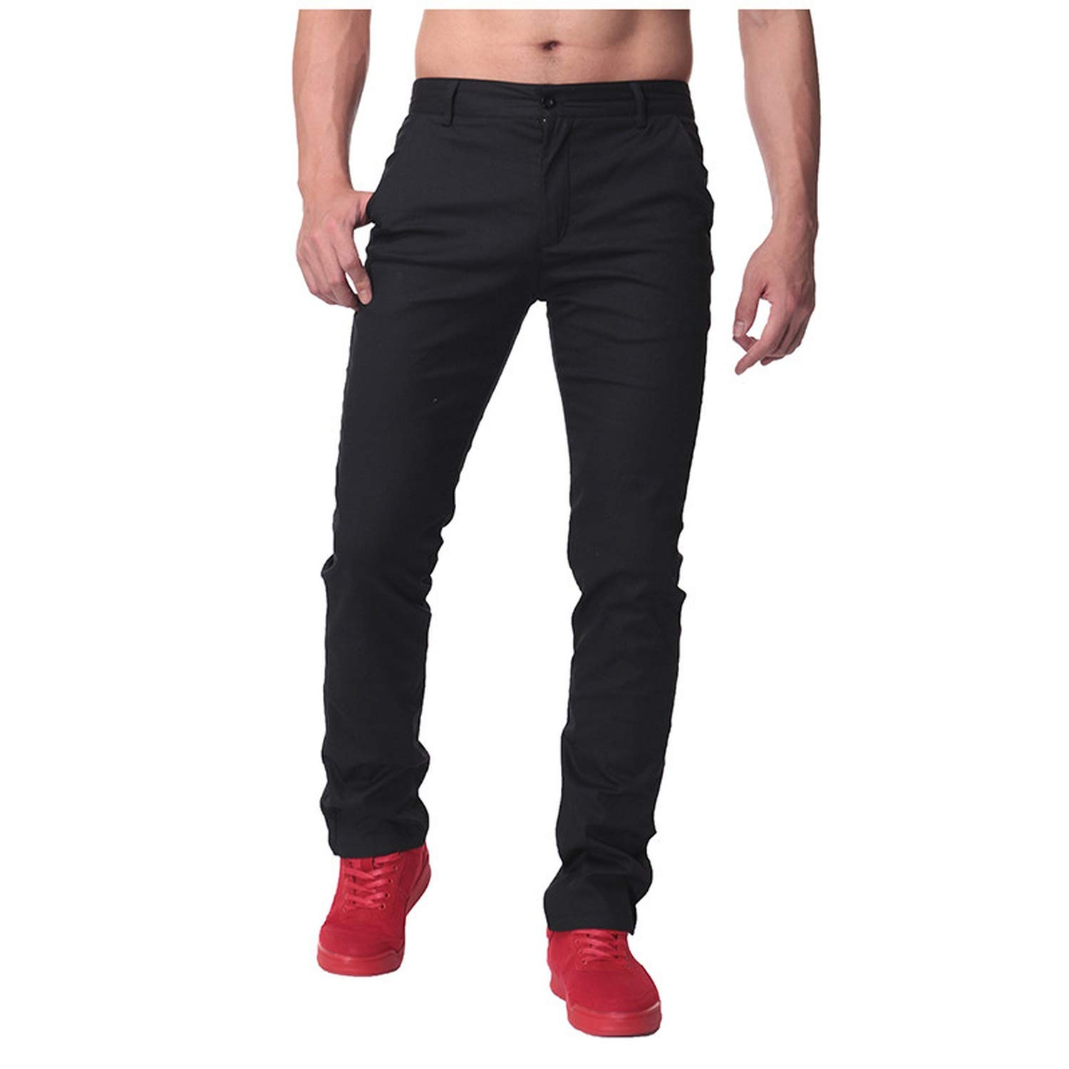 Men Pants Casual Chinos Trousers Men Slim Fit Business Pants Dad Straight Pants