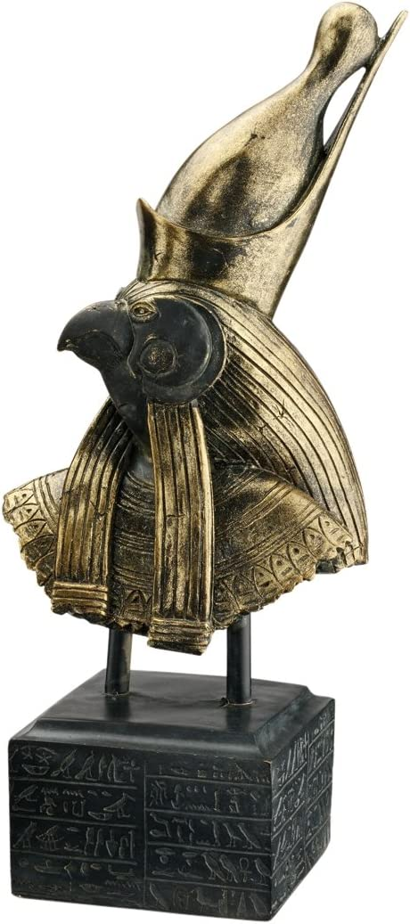 Design Toscano Horus God of Ancient Egypt Bust Statue, 18 Inch, Polyresin, Black and Gold