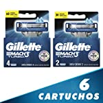 Gillette Cartuchos Para Rastrillor Mach3 Turbo, 6 Unidades Total, Pack of 1
