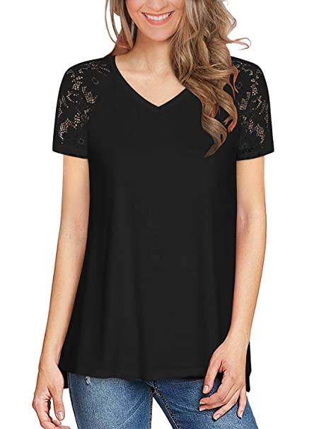 015645759bc Women's Lace Raglan Short Sleeve Tops Summer Casual V Neck T Shirts Side  Slit Tunic Tee