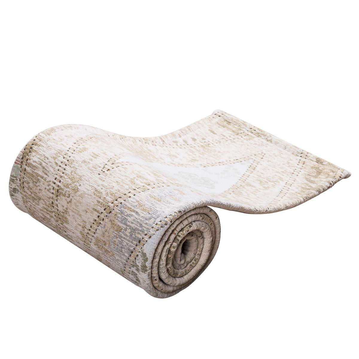 AMIDA Classical Vintage Design Area Rug for Home Floor Covering Runner Washable Beige