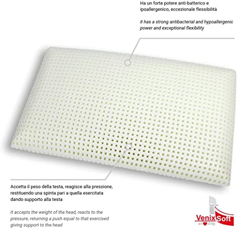 venixsoft Latex foam pillow with more drilling for added softness, with pure cotton pillowcase, made in Italy