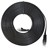 InstallerParts Ethernet Cable CAT6 Cable Flat 25 FT - Black - Professional Series - 10Gigabit/Sec Network / High Speed Internet Cable, 550MHZ