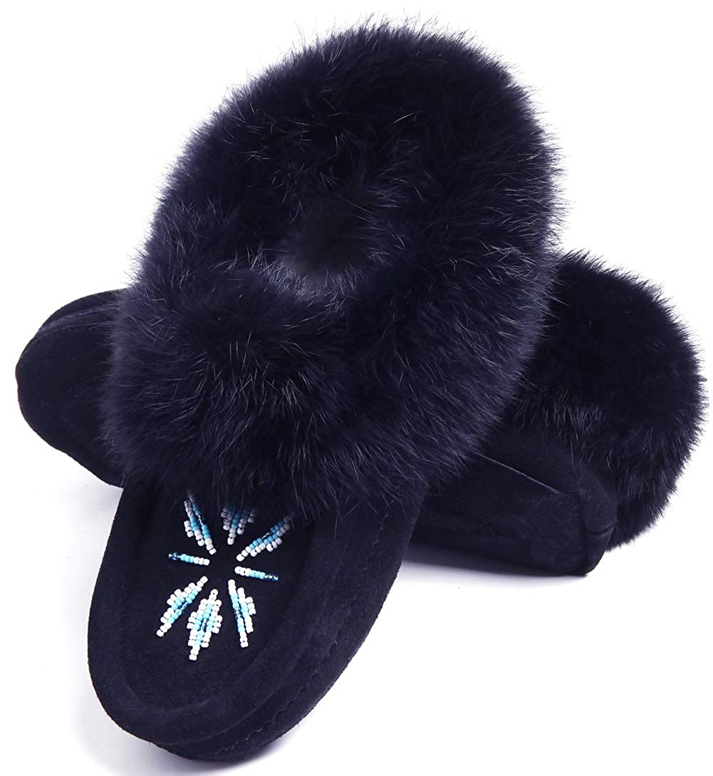 883f5b50a Eucoz Women Moccasins Slippers Indoor,Genuine Leather Suede Slippers,Beaded  Design with Rabbit Fur Collar,Fleece Lined,Soft Sole,Slip-On: Amazon.ca:  Shoes & ...
