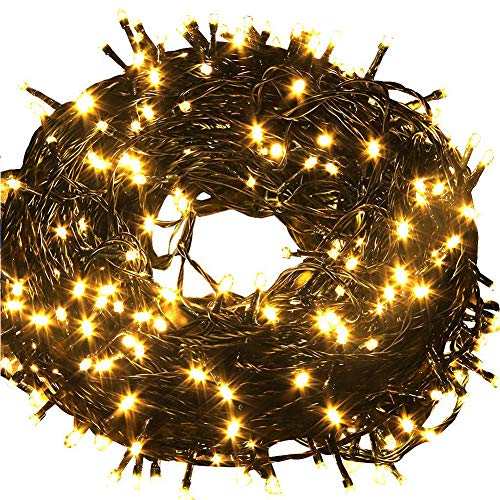 Fullbell 33ft Christmas LED Fairy Twinkle String Lights 100 LEDs with Controller for Chirstmas Tree,Garden,Patio,Multi Strings Connectable(Black Wire)(Warm White) Black Wire Christmas Lights