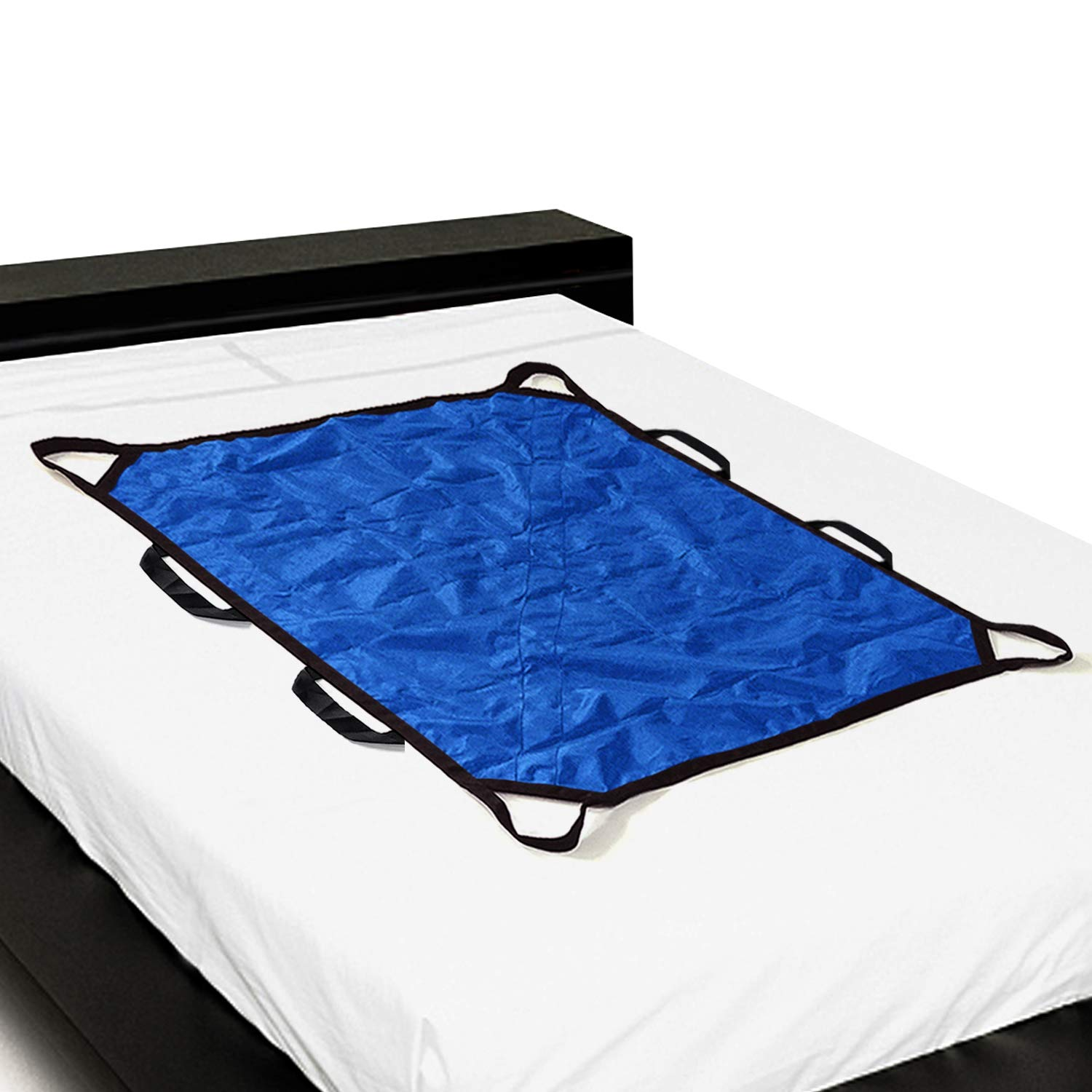 Multipurpose 43'' x 36'' Positioning Bed Pad with Reinforced Handles by ZHEEYI - Reusable & Washable Patient Sheet for Turning, Lifting & Repositioning - Double-Sided Nylon Fabric, Blue