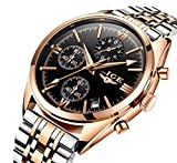 Luxury Stainless Steel Quartz Watches For Men Chronograph Waterproof Watch With Rose Gold Case