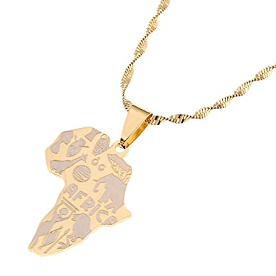 Amazon.com: Africa Map Pendant Necklaces Map of African Elephants