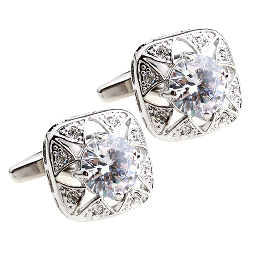 high end classy exquisite French square Zircon rhinestone engraved cufflinks white bullet cufflinks