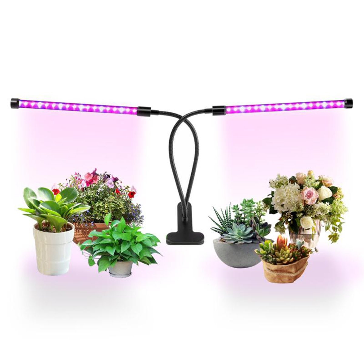 LED Grow Light,Youmeet 18W Professional Dual Heads Plant lamps,360°Flexible,Two Separate Control Switches, for Indoor Plants Hydroponics Greenhouse Gardening Plants. by Youmeet