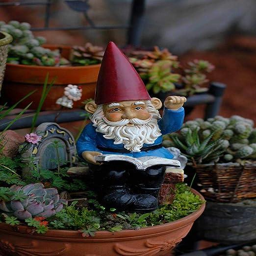 Estatuas para Jardín Patio Jardín De Resina Esculturas En Miniatura GNOME Elf Libro Hacer Señas Adornos Enanas L: 12 W *: 13 * H: 24 CM: Amazon.es: Hogar