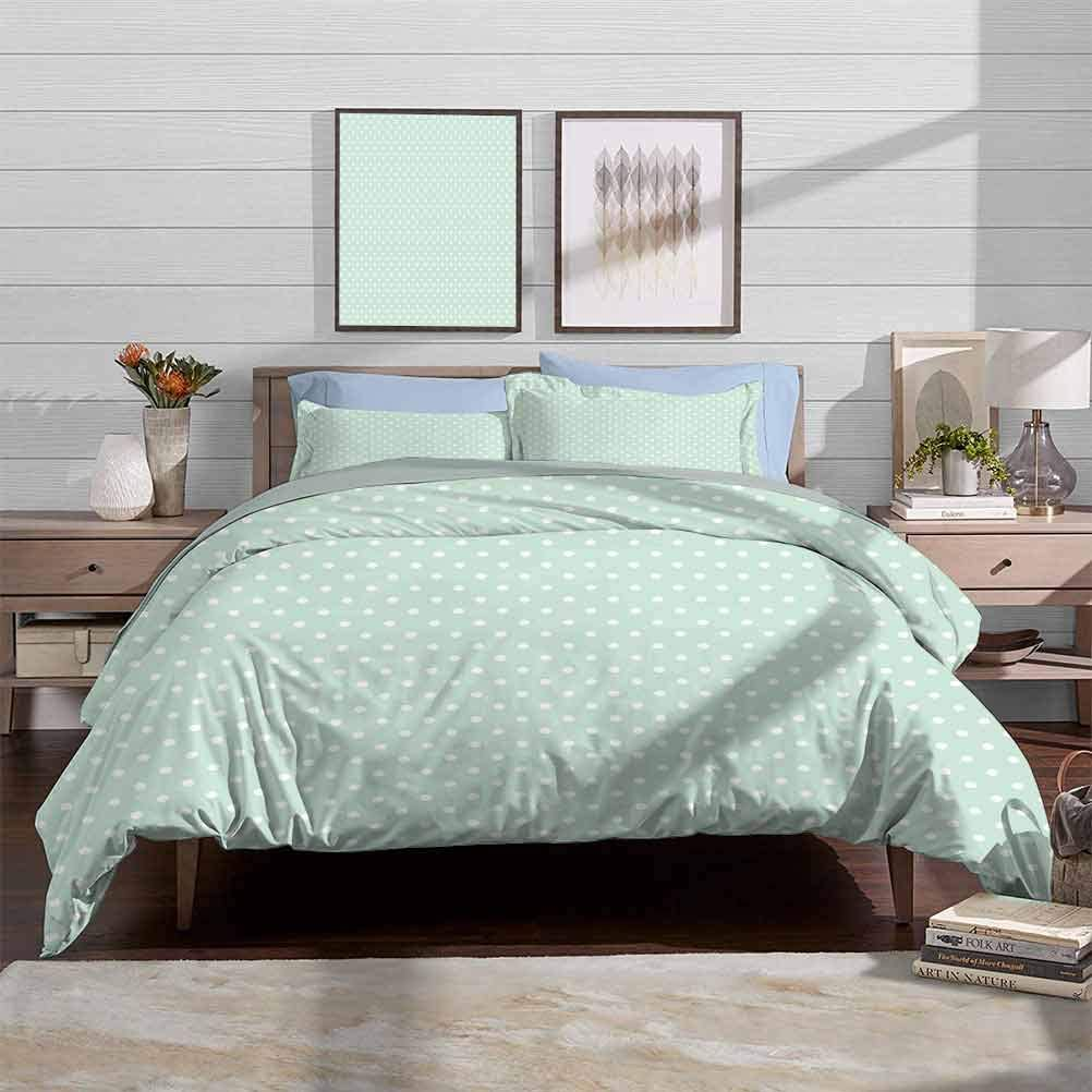 Bedding Duvet Cover Set Ultra Soft and Comfortable Room Decor Retro Style Baby Nursery Themed Pattern with Little White Polka Dots Pastel Decorative 3 Piece Bedding Set with 2 Pillow Shams, Full Size