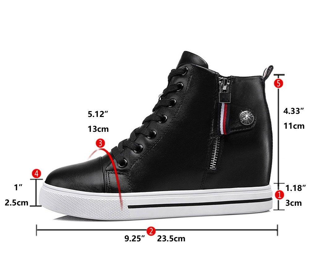 Youxuan Women's Fashion Flat Walking Shoes Zipper Girls Ankle High Casual Elevator Shoes Black 7M US by Youxuan (Image #8)