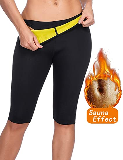 d83a9a17f3275 HEXIN Women's Sweat Pants Neoprene hot Slimming High Waist Pants Weight Loss  Sauna Shaper Capris S