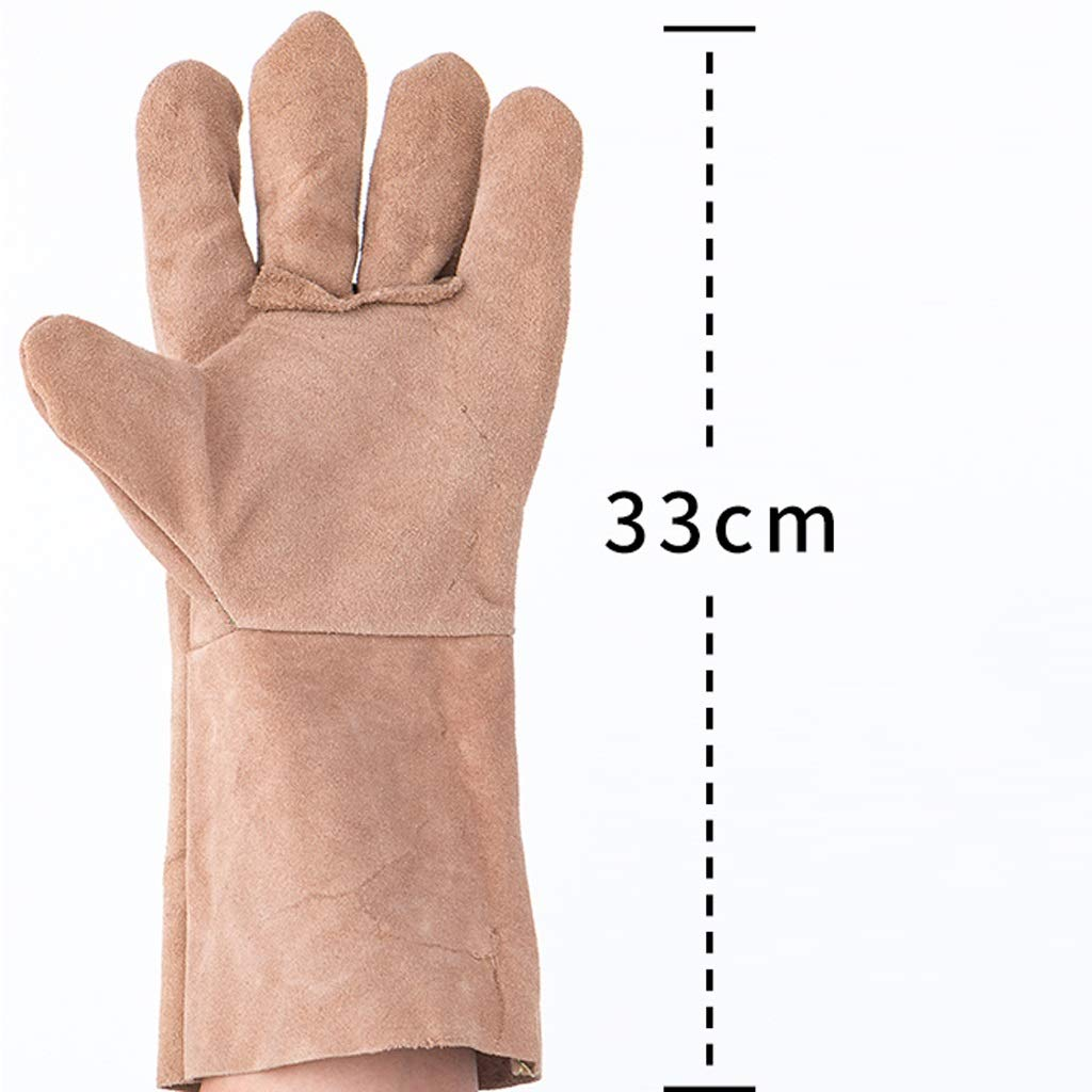 Zyj Welding Gloves 10 Pairs of 33cm Long Leather Soft Labor Insurance Work Gloves Wear Heat Insulation Anti-scalding by Zyj (Image #2)